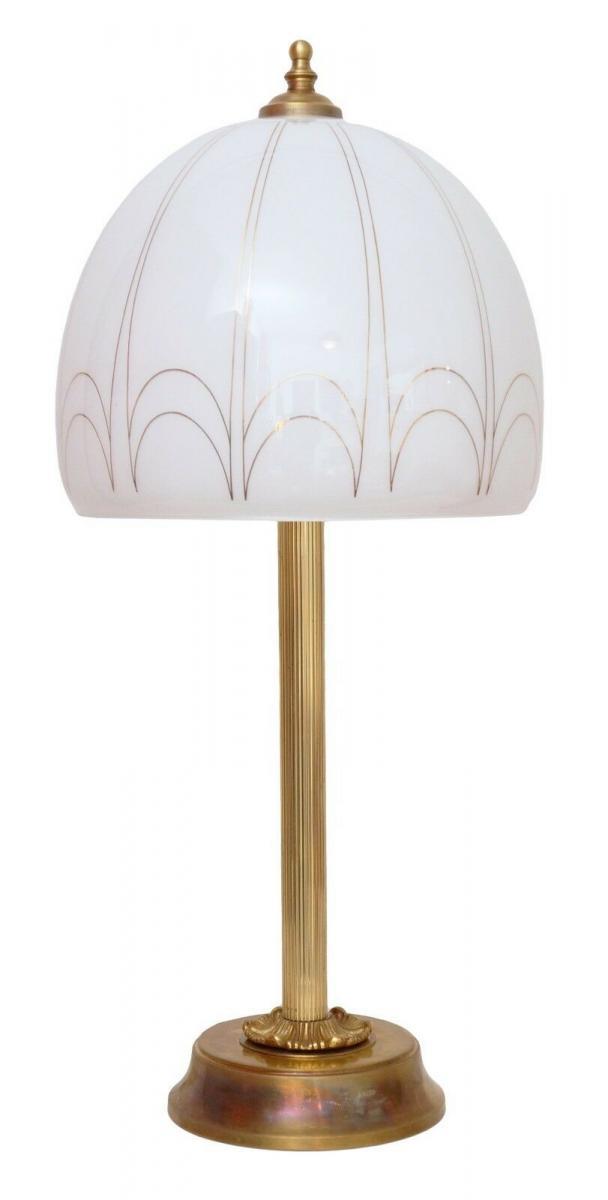 Sehr große Art Déco Salon Tischleuchte Messinglampe Schreibtisch Opal Lampe