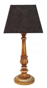 Wunderschöne Jugendstil Shabby Chic Tischlampe Holzsockel neuer Schirm