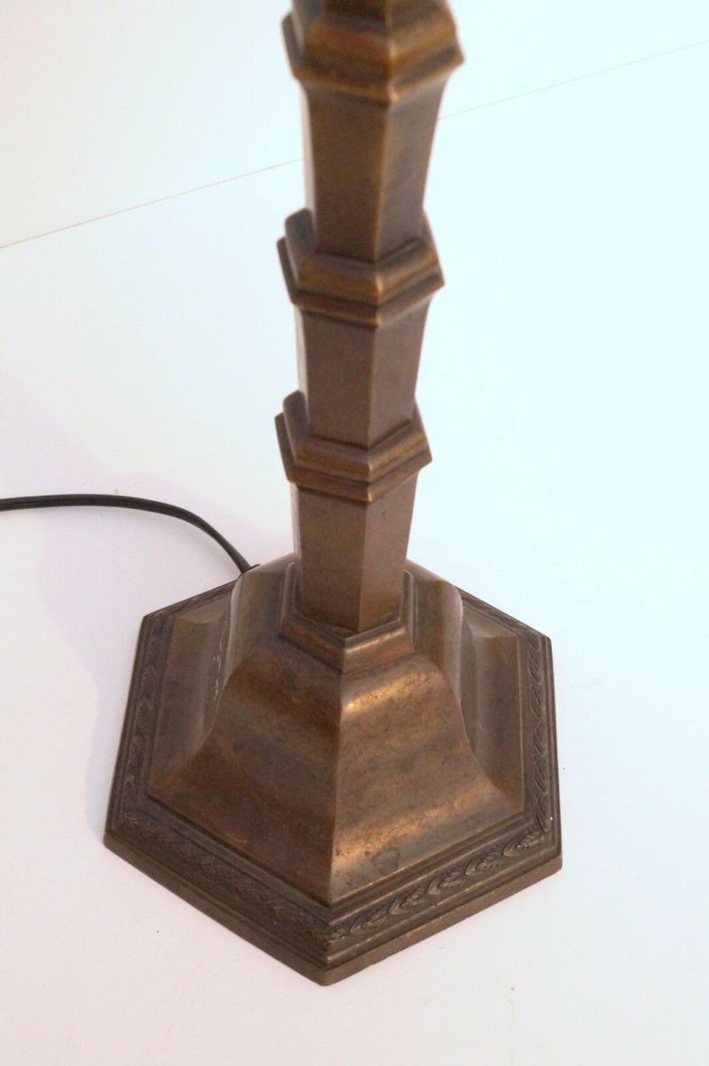 Große unikate original Art Déco Skyscraper Tischlampe