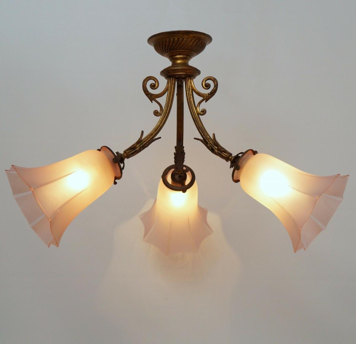 Wunderschöne Original Art Déco Jugendstil Deckenlampe Hängeleuchte 1910  Messing