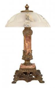 Einzigartige zierliche original Jugendstil Tischlampe Marmor Tischleuchte Banker