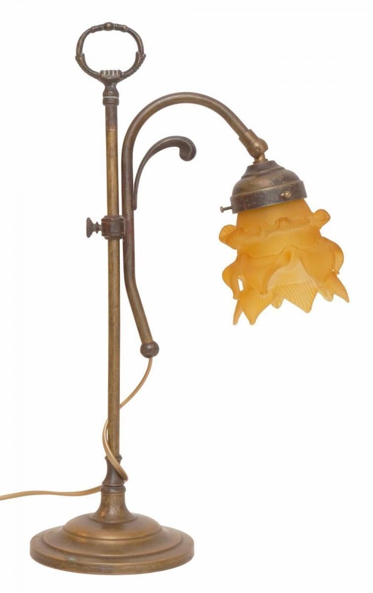 Wunderschöne Jugendstil Tischlampe Leseleuchte Shabby Chic Rosenglas Messing 1