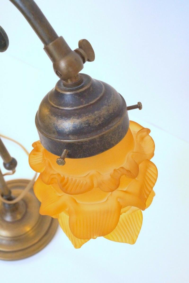 Wunderschöne Jugendstil Tischlampe Leseleuchte Shabby Chic Rosenglas Messing 5