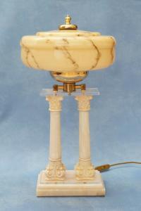 Unikate Jugendstil Art Déco Tischleuchte Onyx Tischlampe Opal Säulen