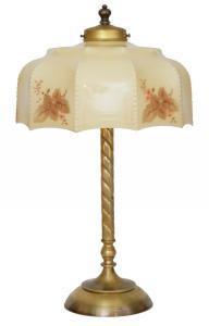 Original Wiener Jugendstil Kaffeehausleuchte Messinglampe um 1930 Tischlampe