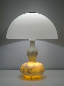 Original Seventies Bauhaus Design Tischlampe weißer Marmor 70er