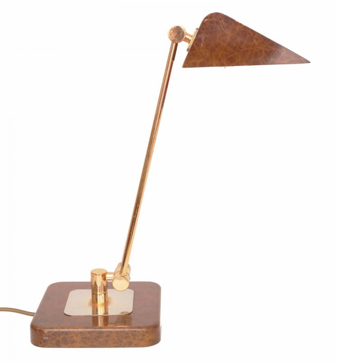 Orig. Hillebrand 80er Retro Schreibtisch Design Schreibtischleuchte Kroko-Optik 0