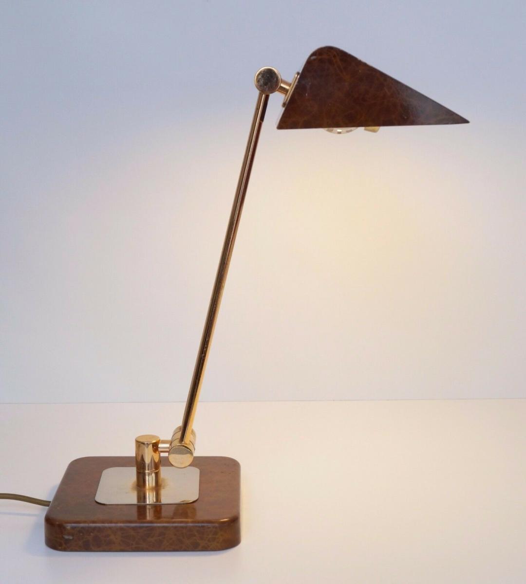 Orig. Hillebrand 80er Retro Schreibtisch Design Schreibtischleuchte Kroko-Optik 1