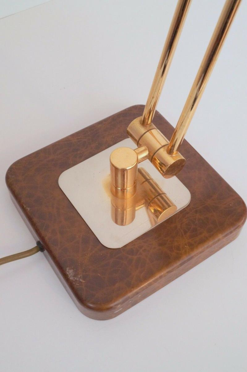 Orig. Hillebrand 80er Retro Schreibtisch Design Schreibtischleuchte Kroko-Optik 3