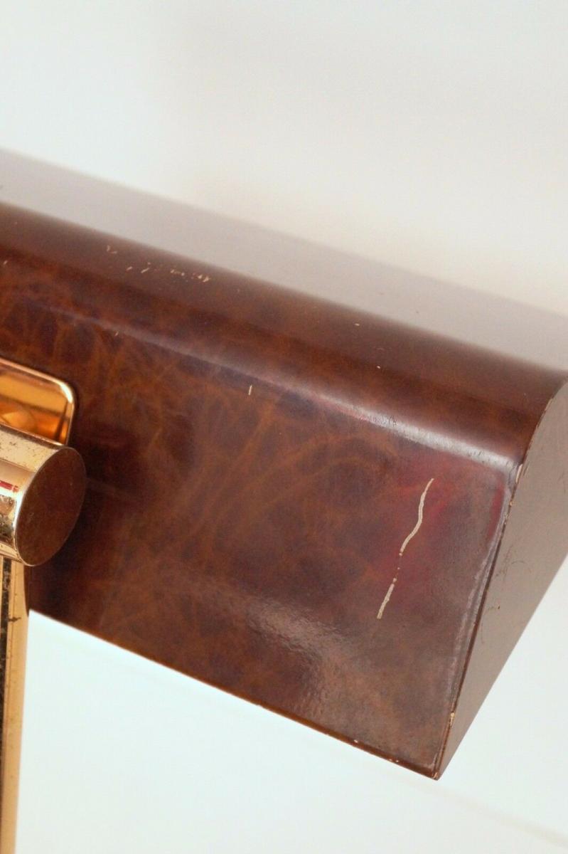 Orig. Hillebrand 80er Retro Schreibtisch Design Schreibtischleuchte Kroko-Optik 8
