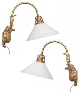 Unikate Jugendstil Messing Wandlampe Karpfen