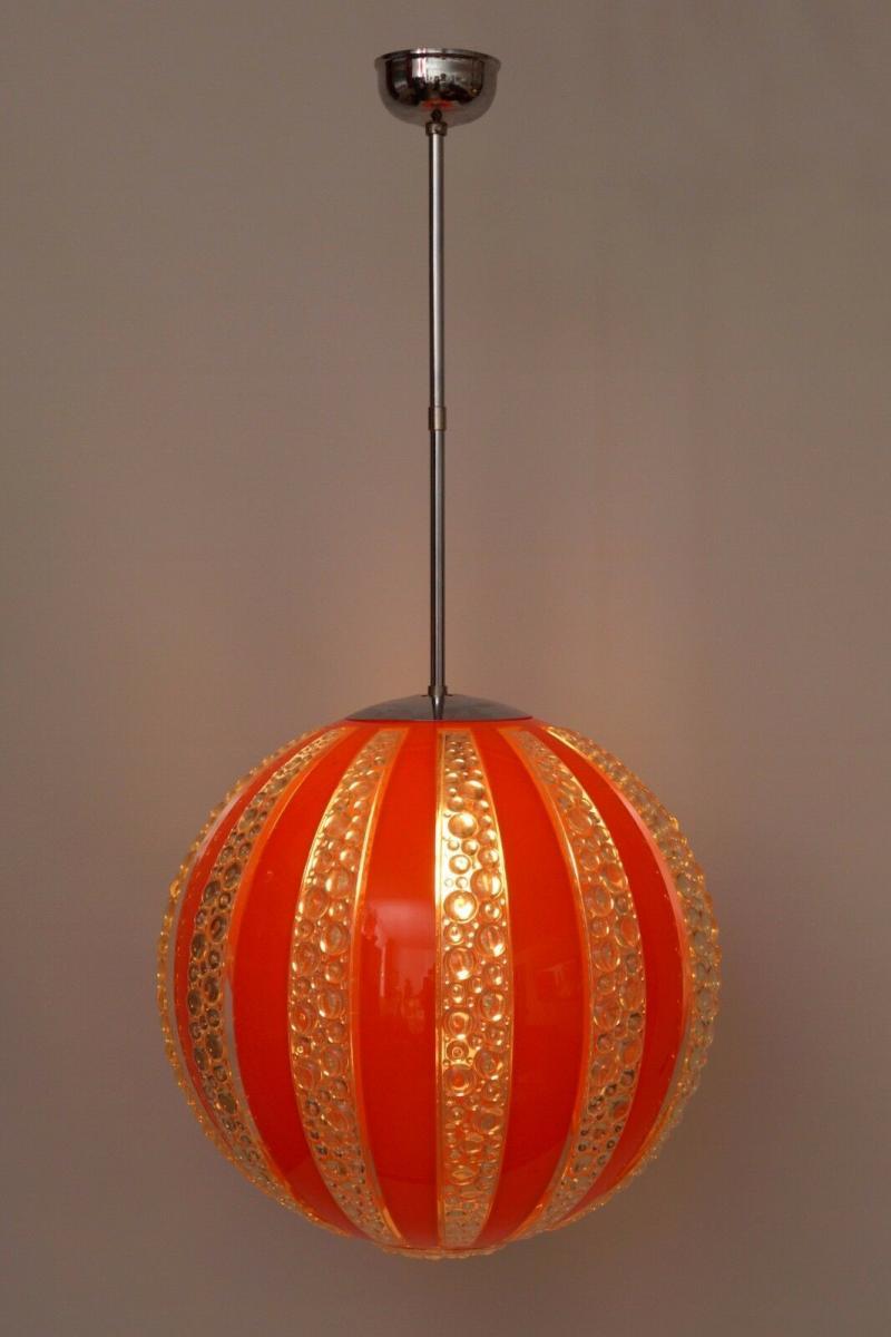 70er Jahre Seventies Deckenlampe Sputnik Light Globe Hängelampe Moon 1