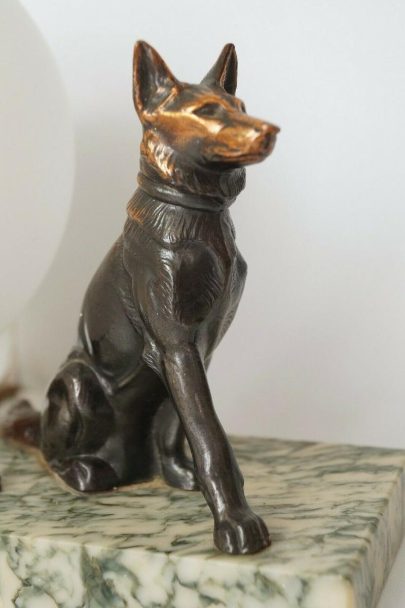 Antike Skulpturen Lampe Gemarkt Schaferhund Hund 1930 Marmor Nachttischlampe Nr 274290829240 Oldthing Tischlampen