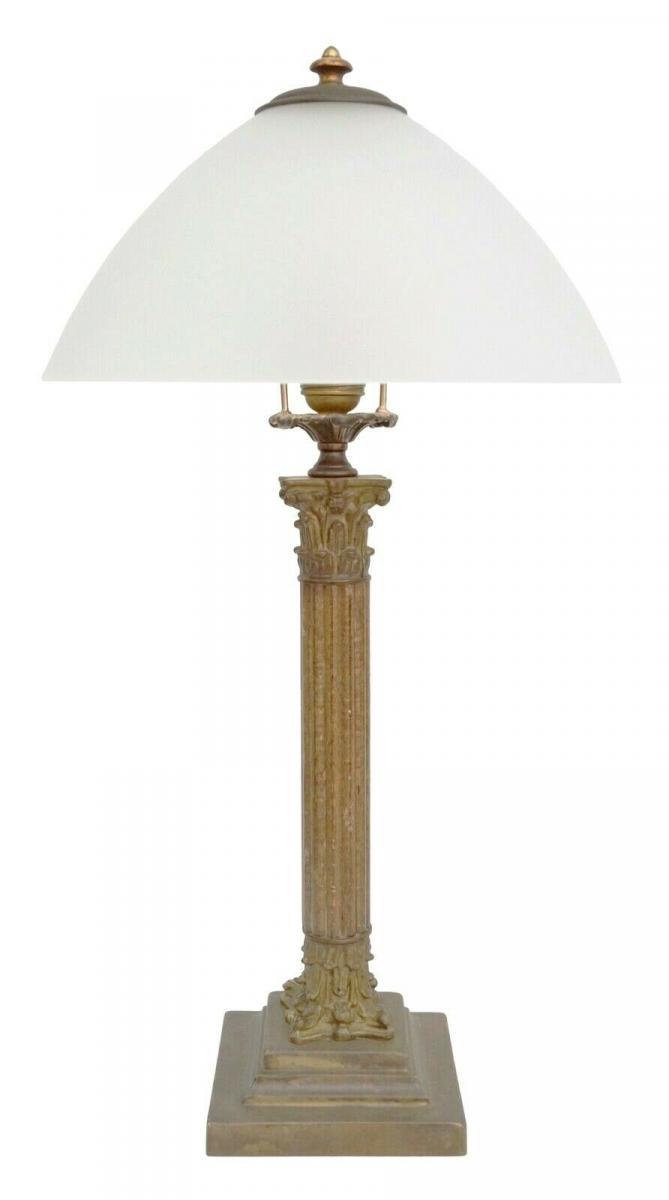 Sehr große original Jugendstil Salonleuchte Schreibtischlampe Messing Holz 60 cm
