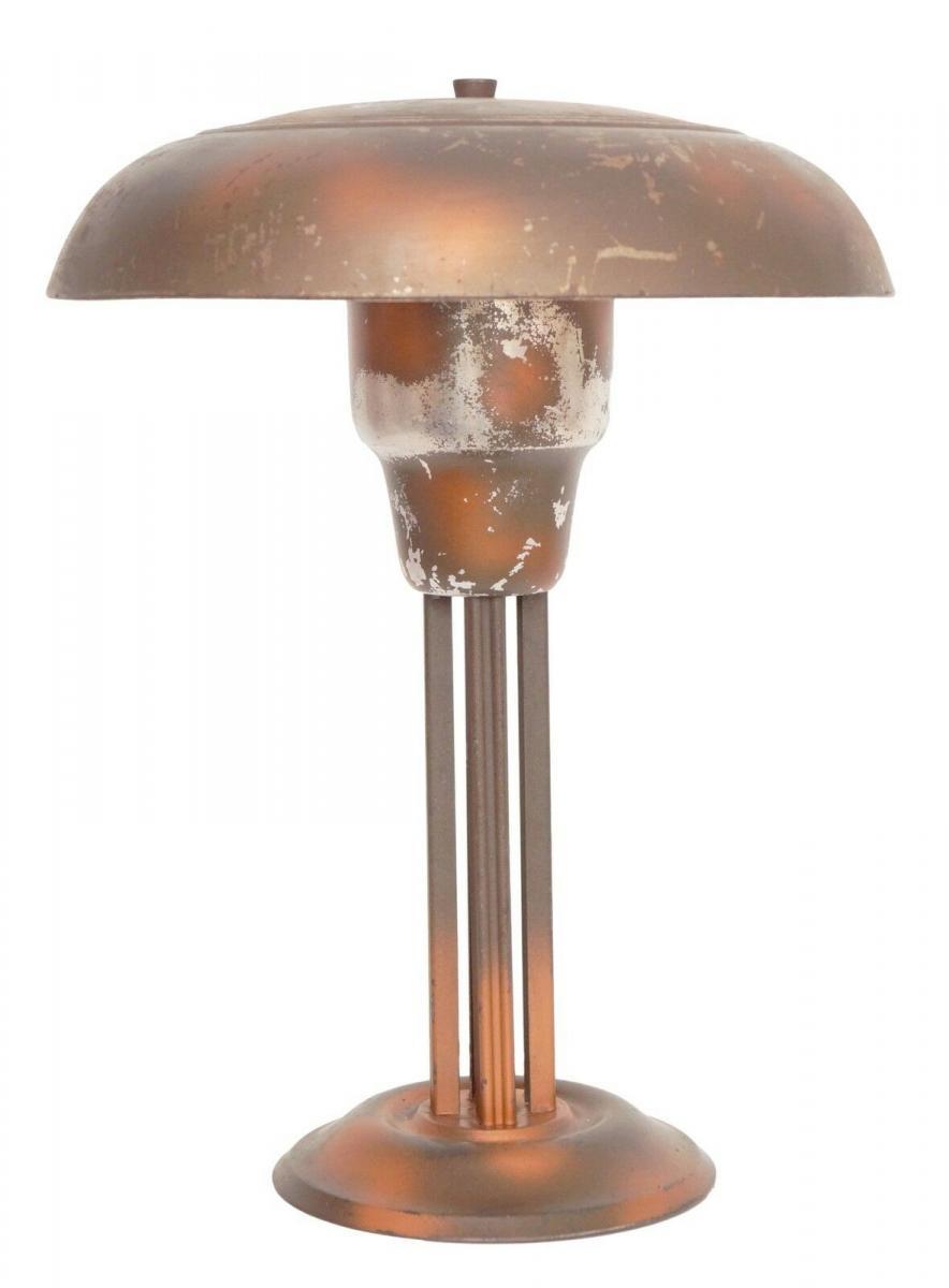 Moderniste Art Deco Aluminium Industrie Look Tischlampe Schreibtischlampe 1930