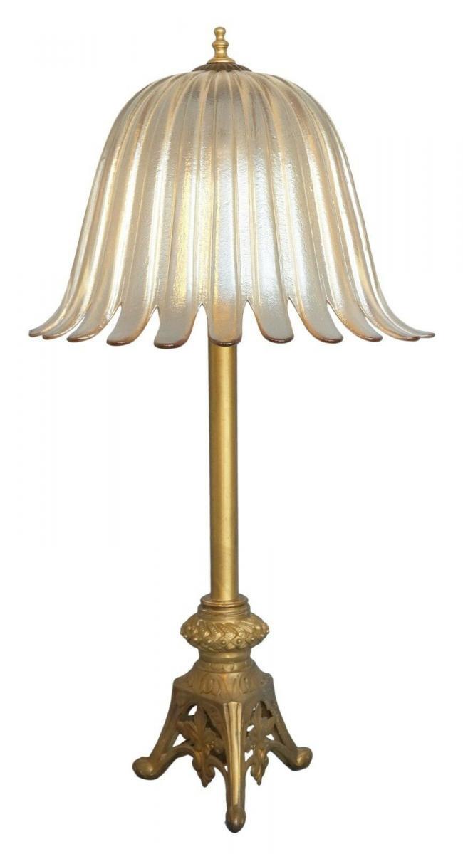 Einzelstück sehr große original Jugendstil Salon Tischleuchte Stehlampe Messing