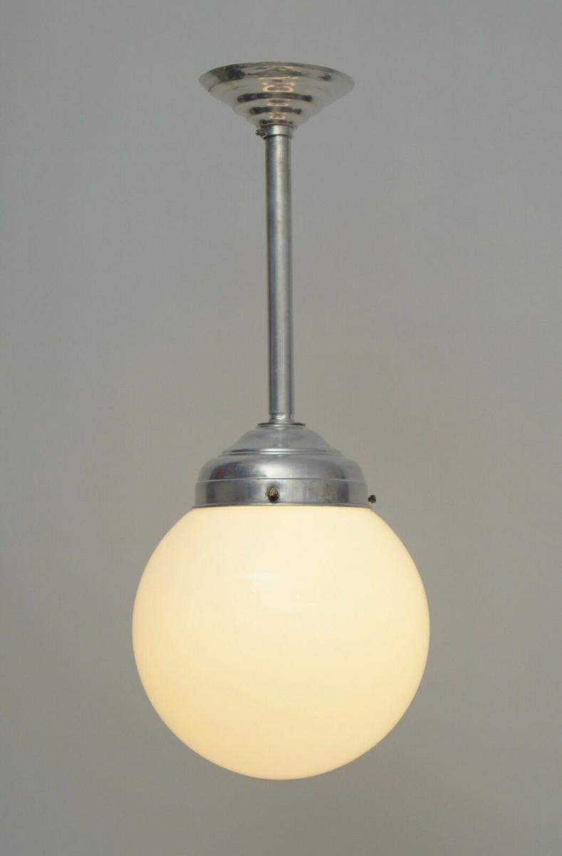 Franz. original Art Déco Deckenlampe Kugelleuchte Aluminium 20er  Hängeleuchte