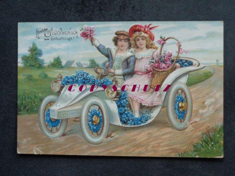 Auto Litho Gepragt Oldtimer Kinderpaar Geburtstag Veilchen Nr B