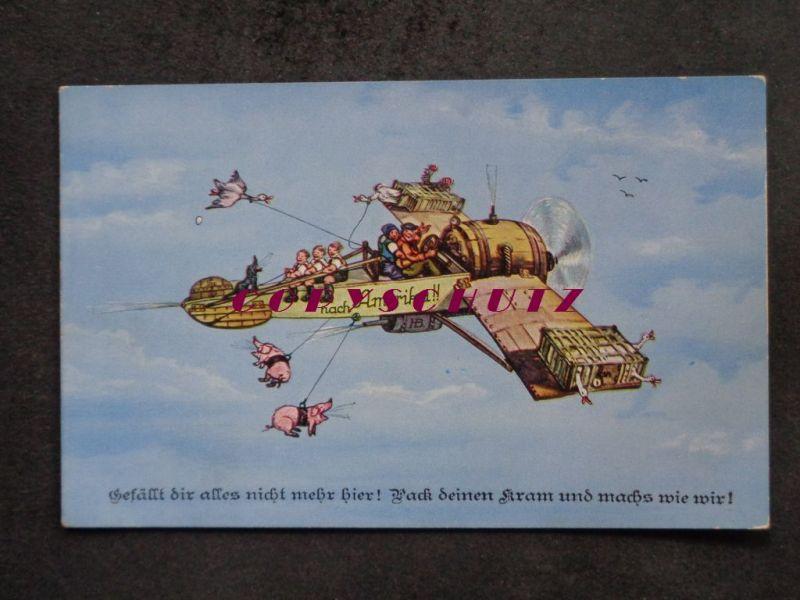 FLUGZEUG - Flug nach Amerika Auswanderer Ulk Schwein