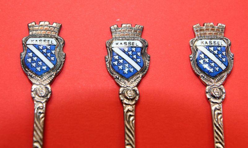 Versilberte Mokkalöffel - Kaffeelöffel , 100er Silberauflage - Stadtmotiv Kassel Wappen 1