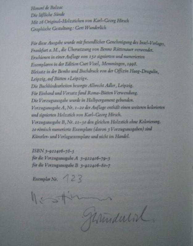 Balzac, Honoré de und Karl-Georg [Ill.] Hirsch. Die läßliche Sünde.