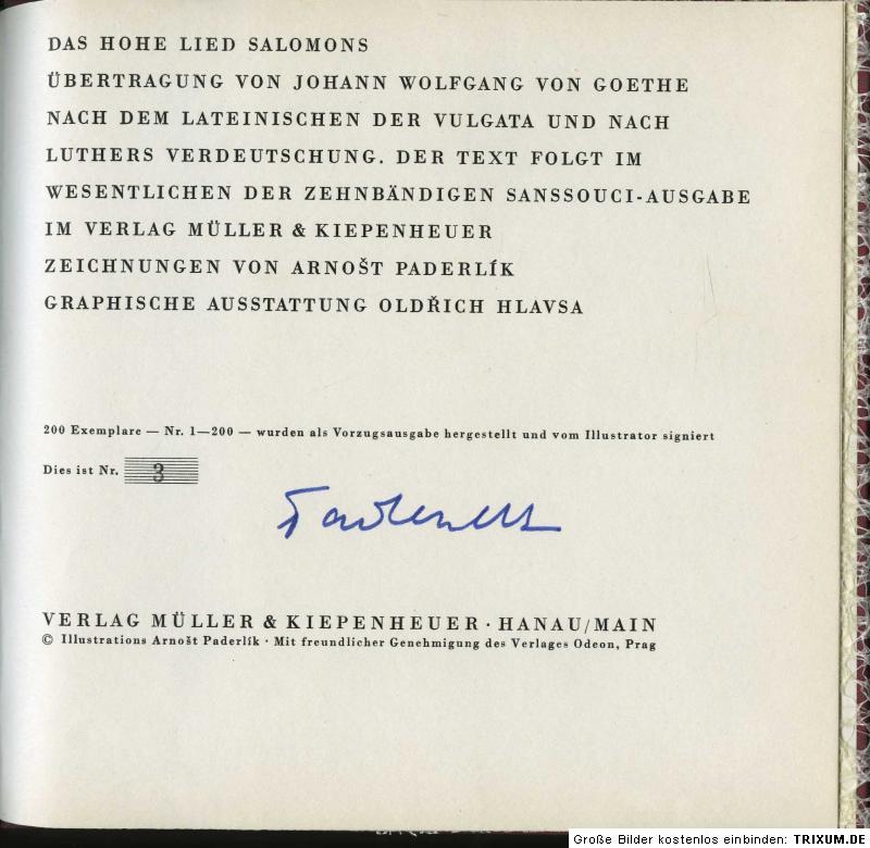 Goethe, Johann Wolfgang von. Das Hohe Lied Salomons.
