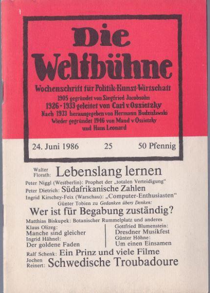 Theek, Peter (Chefredakteur). Die Weltbühne. Wochenschrift für Politik - Kunst - Wirtschaft.