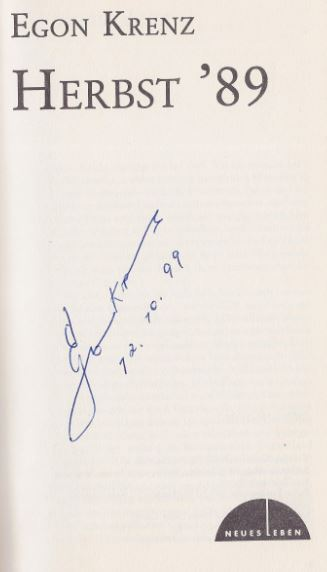 Krenz, Egon. Herbst `89.