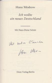 Modrow, Hans. Ich wollte ein neues Deutschland.