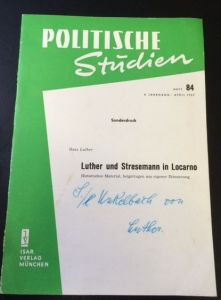 Luther, Hans. Luther und Stresemann in Locarno.