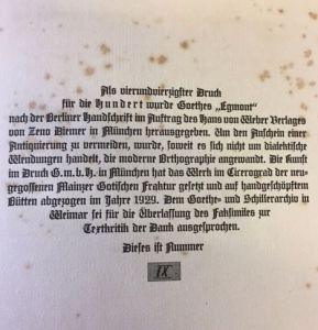 Goethe, Johann Wolfgang von. Egmont.