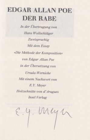Poe, Edgar Allan und Hans [Übers.] Wollschläger. Der Rabe.