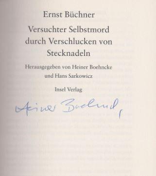 Büchner, Ernst. Versuchter Selbstmord mit Stecknadeln.