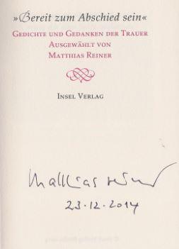 """Reiner, Matthias [Hrsg.]. """"Bereit zum Abschied sein""""."""
