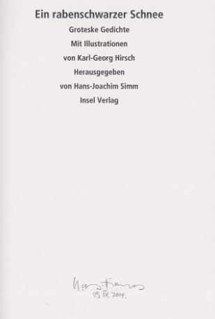 Simm, Hans-Joachim (Hrsg.) und Karl-Georg (Illustrator) Hirsch. Ein rabenschwarzer Schnee.