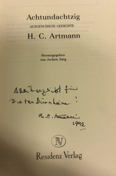 Artmann, Hans C. Achtundachtzig ausgewählte Gedichte.