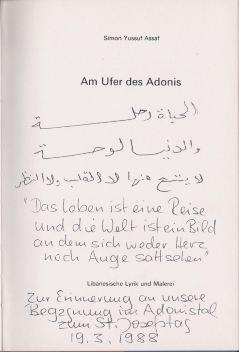 Assaf, Simon Yussuf. Am Ufer des Adonis.