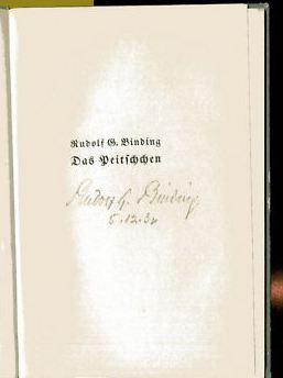 Binding, Rudolf G. Das Peitschchen.
