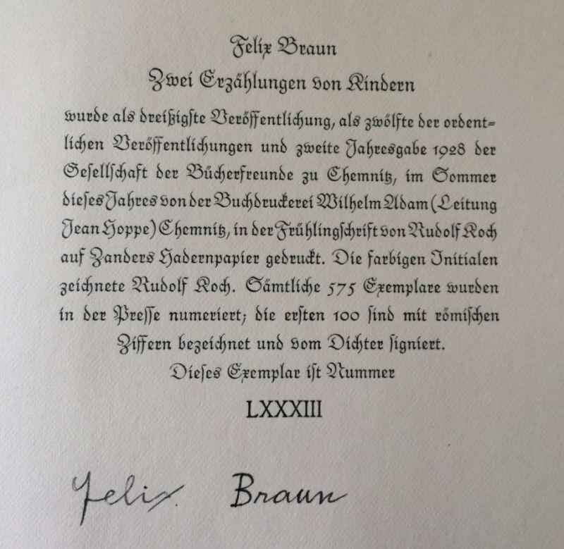 Braun, Felix. Zwei Erzählungen von Kindern.