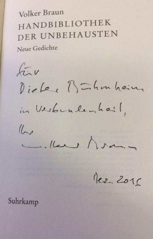 Braun, Volker. Handbibliothek der Unbehausten.