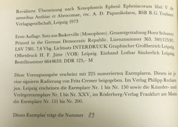 Cremer, Fritz. Xenophon Abrokomes und Anthia.
