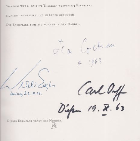 Cocteau, Jean, Werner Egk Carl Orff u. a. Ballett Theater.
