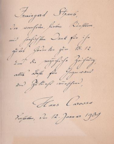 Carossa, Hans. Wirkungen Goethes in der Gegenwart.