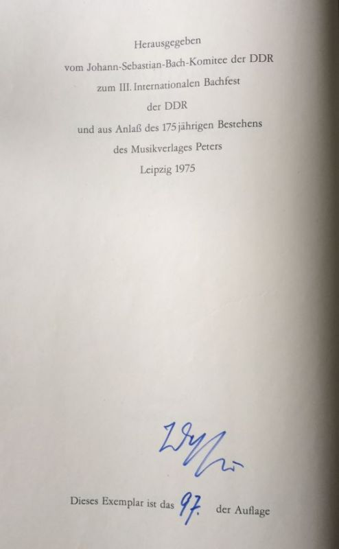 Dessau, Paul. Bach-Variationen für grosses Orchester 1963.