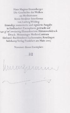 Enzensberger, Hans Magnus. Die Geschichte der Wolken.