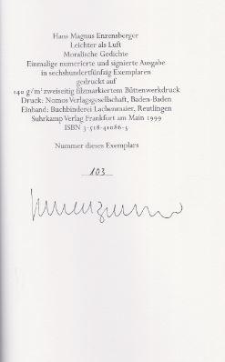 Enzensberger, Hans Magnus. Leichter als Luft.