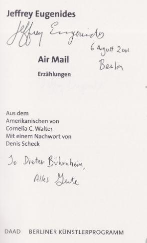 Eugenides, Jeffrey. Air Mail. Erzählungen.
