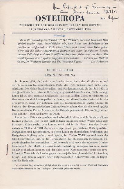 Geyer, Dietrich. Osteuropa - Zeitschrift für Gegenwartsfragen des Ostens.
