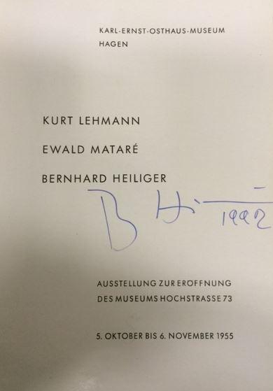Biederbeck, E. H. (Hrsg.) und H. (Hrsg.) Hesse-Frielinghaus. Bernhard Heiliger - Kurt Lehmann - Ewald Mataré.