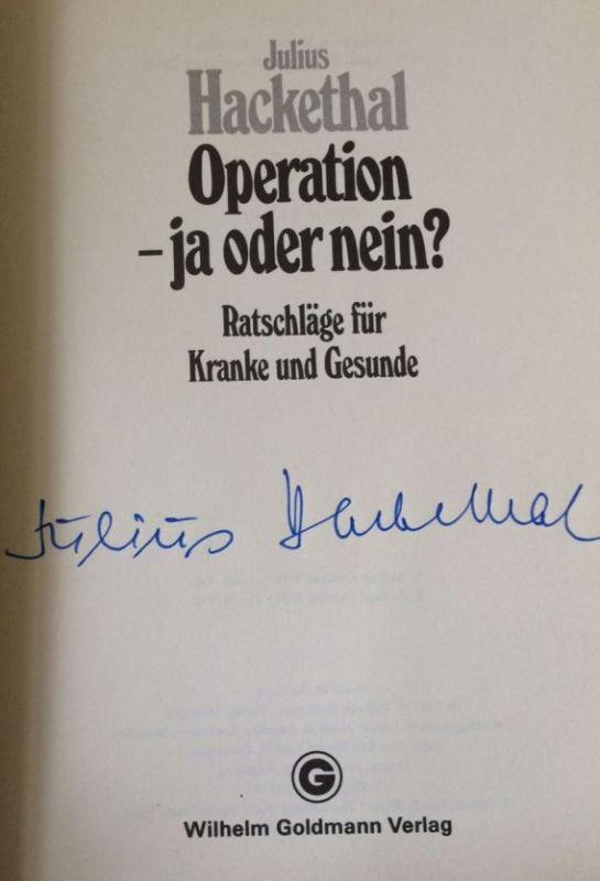 Hackethal, Julius. Operation - ja oder nein?.